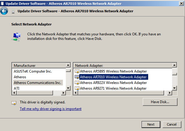 ATHEROS AR7010 WIRELESS NETWORK USB ADAPTER DRIVERS WINDOWS 7 (2019)